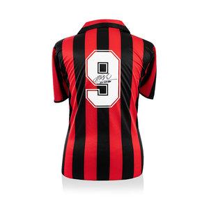 Marco van Basten signed retro AC Milan shirt