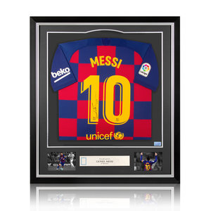 Lionel Messi signed Barcelona shirt 2019-20 - framed