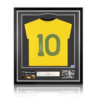 Pele signed Brazil 1970 World Cup shirt - framed