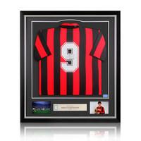 Marco van Basten signed retro AC Milan shirt - framed