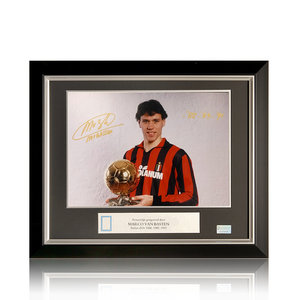 Marco van Basten signed Milan photo - framed