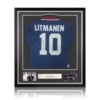 Jari Litmanen signed  retro Ajax shirt 1994-95 - framed