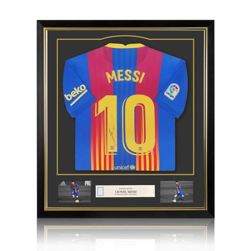 Lionel Messi signed FC Barcelona shirt 2020-21 El Clásico - special edition - framed