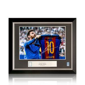 Lionel Messi foto firmata Barcellona - El Clásico - incorniciata