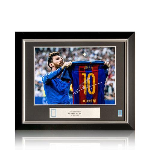 Lionel Messi foto firmata FC Barcelona - El Clásico - incorniciata