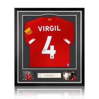 Virgil van Dijk signed Liverpool shirt 2019-20 - framed