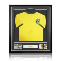 Socrates signed retro Brazil shirt 1982 - framed