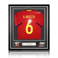 Andrés Iniesta signed Spain shirt 2016-17 - framed