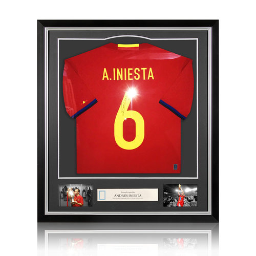 Andrés Iniesta maglia firmata Spagna 2016-17 - incorniciata