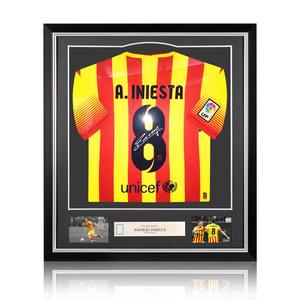 Andrés Iniesta maglia firmata Barcellona 2013-14 - incorniciata