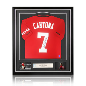 Eric Cantona signed Manchester United shirt 2019-20 - framed