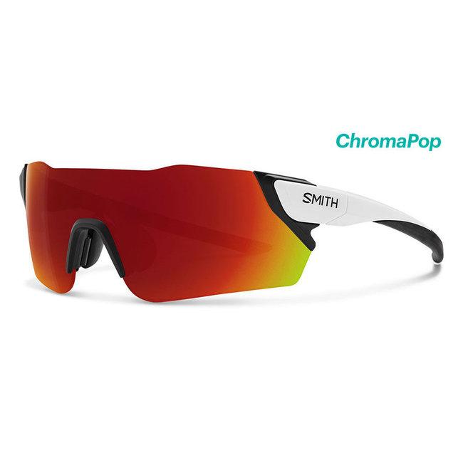 Smith Attack Radsportbrille mattweiß mit chroma-roter Linse