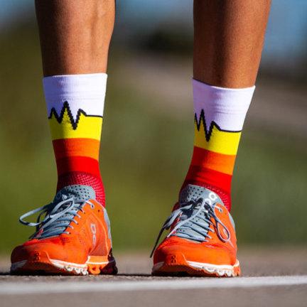 Running socks with fun motifs