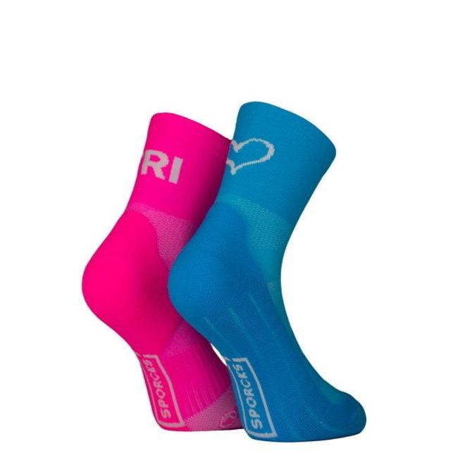 Sporcks Tri Love Pink Blue Triathlonsocken