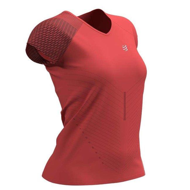 Compressport Performance Damen-Kurzarm-T-Shirt Koralle