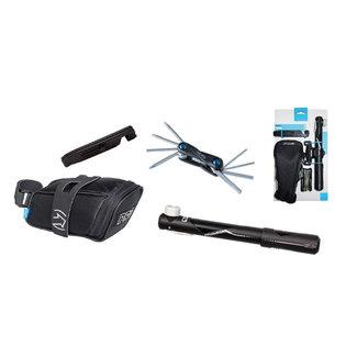PRO PRO Combipack Fietszadeltas + Mini Tool 10 + Pomp en Bandenlichters
