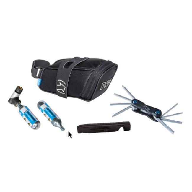 PRO Combipack Fietszadeltas + Mini Tool 10 + Co2 Pomp en Bandenlichters