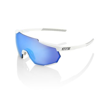 100% Eyewear 100% Racetrap Occhiali da Ciclismo Telaio Bianco Lente Blu
