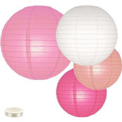 Lampion pakket mix van 35 roze en witte lampionnen