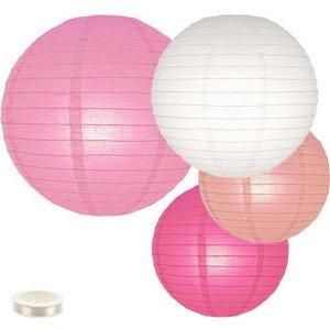 Voordeel pakket roze lampionnen