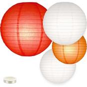 Lampion pakket mix van 35 rode, witte en oranje lampionnen