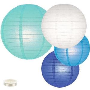 Voordeel pakket blauwe lampionnen