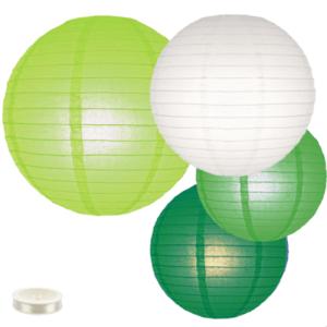Voordeel pakket groene lampionnen