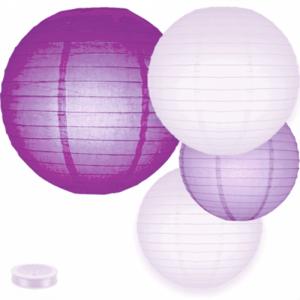 Voordeel pakket paarse lampionnen