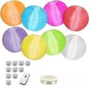 Voordeel pakket 10 gekleurde nylon lampionnen met led verlichting