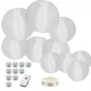 Nylon lampionnen wit inclusief verlichting