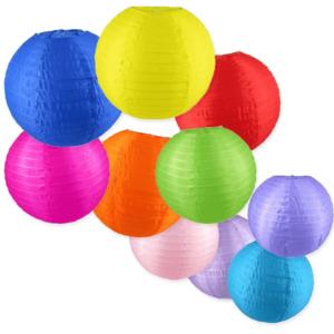 Nylon lampionnen kleur mix 35 cm - 10 stuks