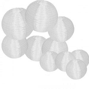 Nylon lampionnen wit 35 cm - 10 stuks