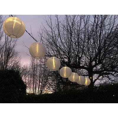 10 meter lampion verlichting met 20 warm witte led lampjes
