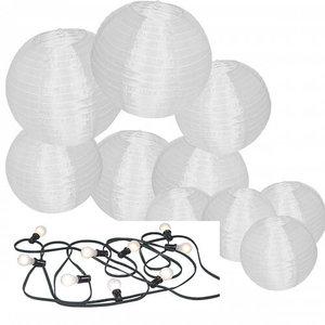 Witte nylon lampionnen met led verlichting