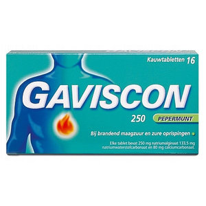 Gaviscon Gaviscon Pepermunt Kauwtabletten 250 Mg - 16 Tabletten