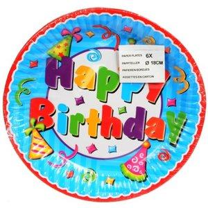 Verjaardag Verjaardag Bord Happy Birthday 18cm - 1 Stuks
