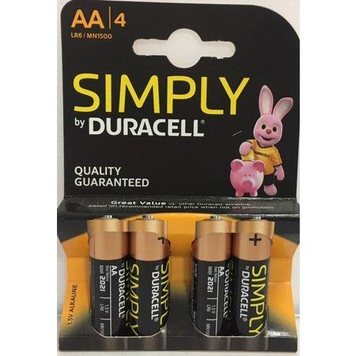2b DURACELL SIMPLY AA - 4 STUKS
