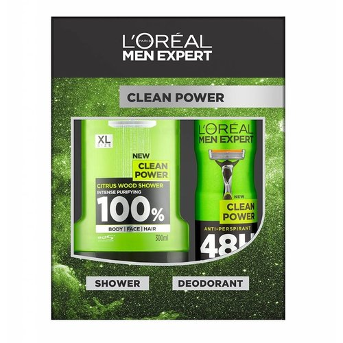 Loreal Men Expert Cadeauverpakking Clean Power Douchegel + Deospray - 1 Stuks