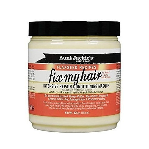 Aunt Jackie's Aunt Jackie's Curls & Coils Flaxseed Recipes Fix My Hair Intensive Repair Conditioning Masque 426 Gram