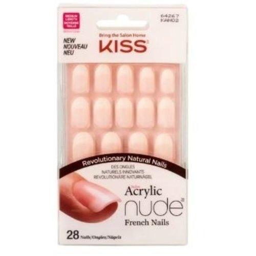 Kiss Kiss acryl natural kunst nagels nude ovaal 28 stuks