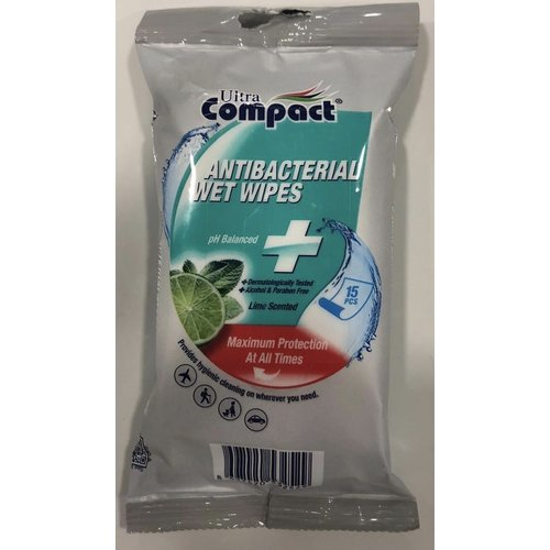 Antibacterial wipes 15 stuks lemon