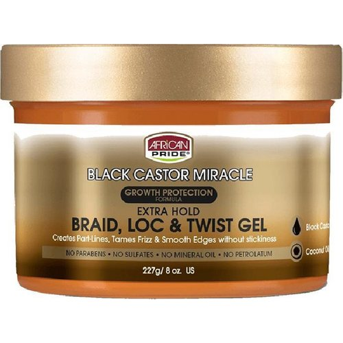 African Pride African Pride Black Castor Miracle Braid Loc & Twist Gel - Growth Protection Formula Extra Hold 227gr