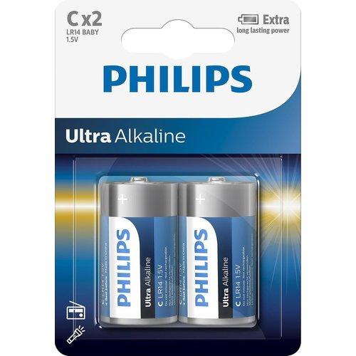 Philips Philips Ultra Alkaline LR14 Baby - C Batterij 2 Stuks