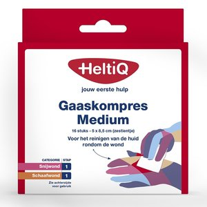 Heltiq Heltiq Medium 5 x 8,5cm - Gaaskompres 16 Stuks