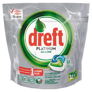 Dreft Dref Platinum All In One - 14 Vaatwascapsules