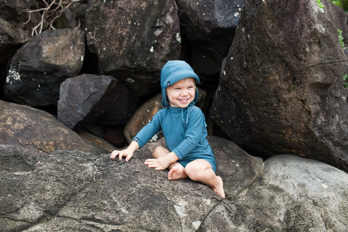 Beach & Bandits Beach & Bandits - Ribbed babysuit Pacific Blue