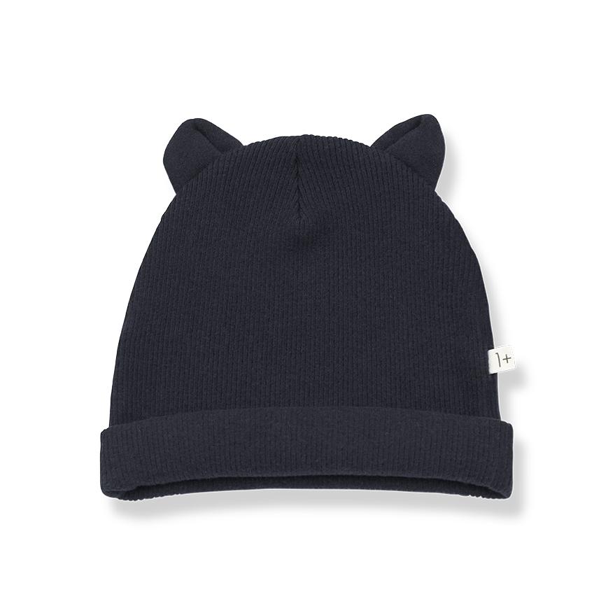 1+ in the family 1+ in the family - Mull beanie with ears blue notte