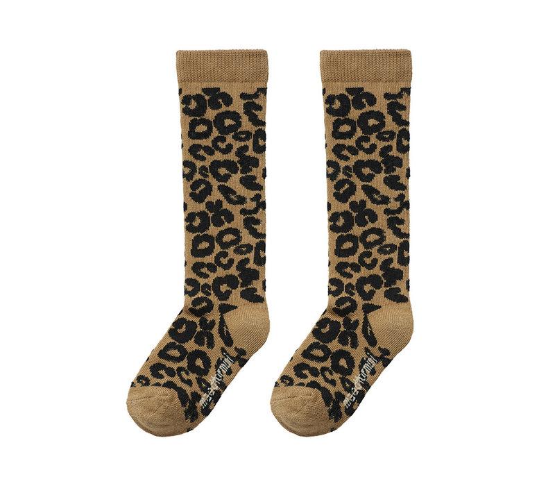 Maed for Mini Essentials - Knee socks Brown leopard aop
