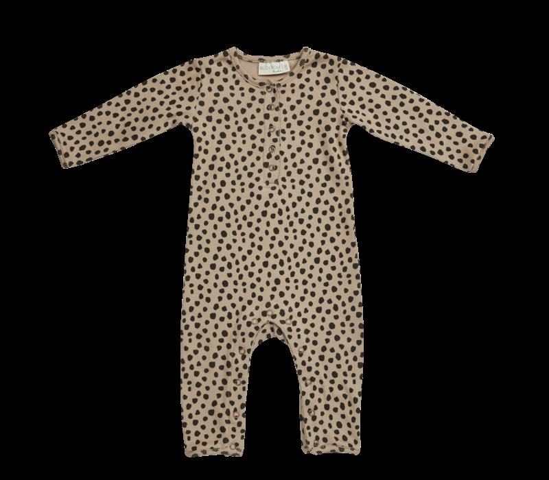 Blossom kids - Playsuit printed animal dot soft rib warm sand