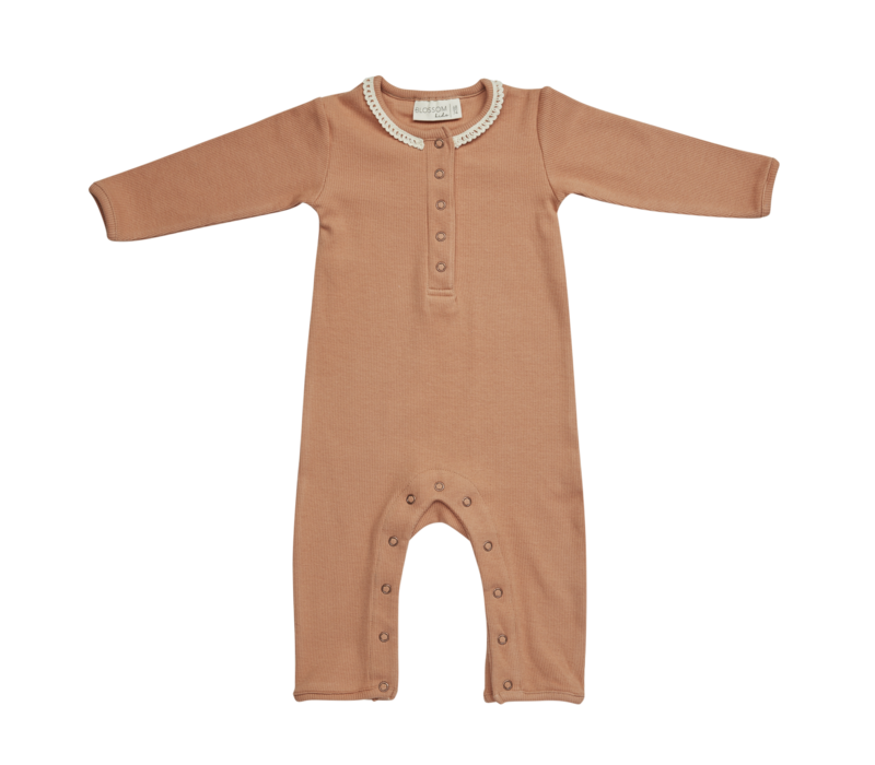 Blossom kids - Playsuit with lace deep toffee